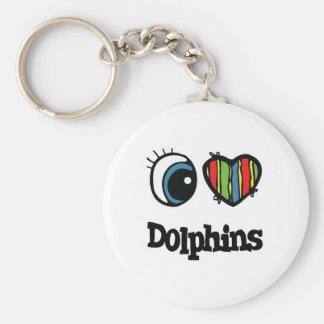I Love (Heart) Dolphins Keychains