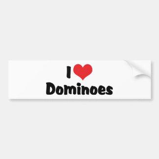 I Love Heart Dominoes Bumper Sticker