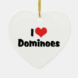 I Love Heart Dominoes Ceramic Ornament