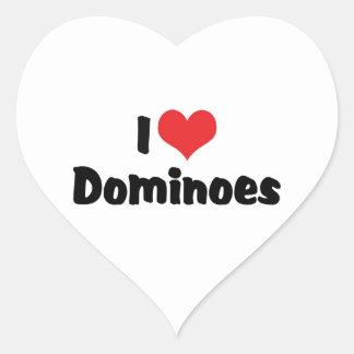 I Love Heart Dominoes Heart Sticker