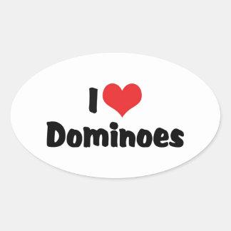 I Love Heart Dominoes Oval Sticker