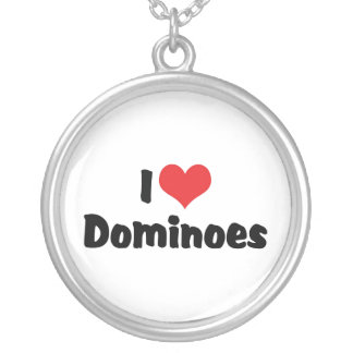 I Love Heart Dominoes Silver Plated Necklace