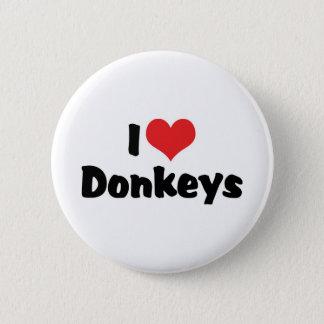 I Love Heart Donkeys Button