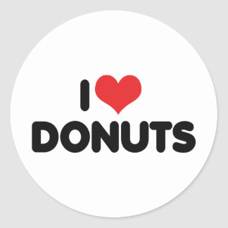 I Love Heart Donuts - Donut Snack Food Sugar Lover Classic Round Sticker