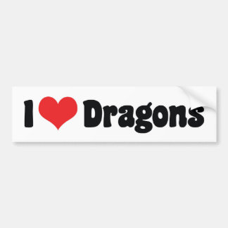 I Love Heart Dragons Bumper Sticker