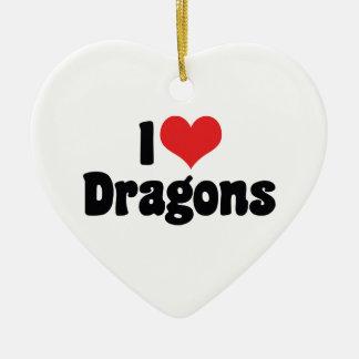 I Love Heart Dragons Ceramic Ornament