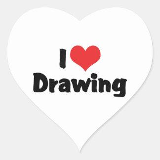 I Love Heart Drawing - Artists & Illustrator Heart Sticker