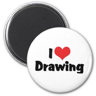I Love Heart Drawing - Artists & Illustrator Magnet