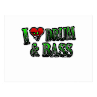 I Love heart DRUM and BASS Postcard