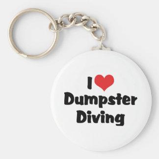 I Love Heart Dumpster Diving - Junk Lover Keychain