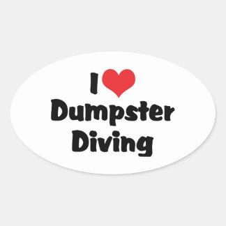 I Love Heart Dumpster Diving - Junk Lover Oval Sticker