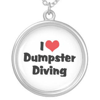 I Love Heart Dumpster Diving - Junk Lover Silver Plated Necklace