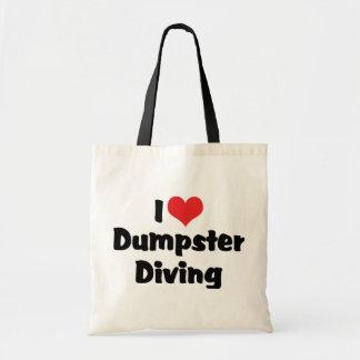 I Love Heart Dumpster Diving - Junk Lover Tote Bag