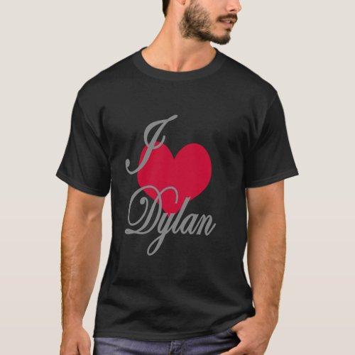I Love Heart Dylan Dark T_Shirt