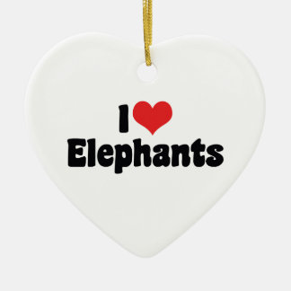 I Love Heart Elephants - Elephant Lover Ceramic Ornament