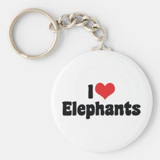 I Love Heart Elephants - Elephant Lover Keychain