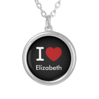 I Love (Heart) Elizabeth Round Pendant Necklace