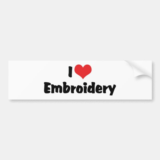 I Love Heart Embroidery - Needlepoint Sewing Bumper Sticker