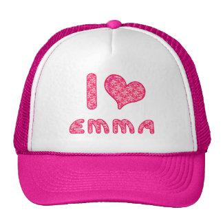 i love / heart emma baseball cap / trucker hat