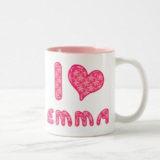 i love / heart emma cup for Emma lovers Two-Tone Coffee Mug