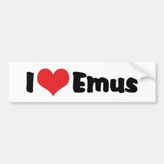 I Love Heart Emus - Emu & Ostrich Lover Bumper Sticker