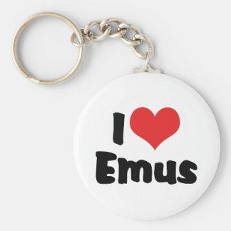 I Love Heart Emus - Emu & Ostrich Lover Keychain