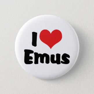 I Love Heart Emus - Emu & Ostrich Lover Pinback Button