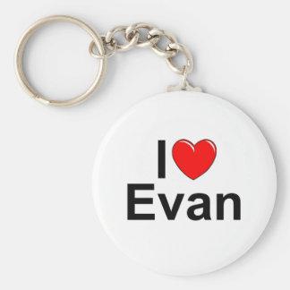 I Love (Heart) Evan Basic Round Button Keychain