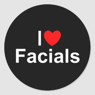 I Love (Heart) Facials Classic Round Sticker