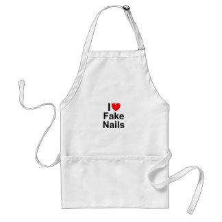 I Love (Heart) Fake Nails Adult Apron