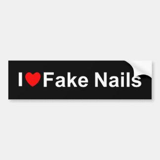 I Love (Heart) Fake Nails Car Bumper Sticker
