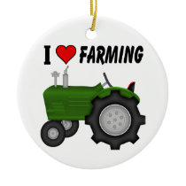 I love (heart) Farming Ceramic Ornament