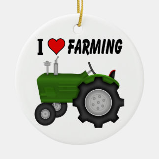 I love (heart) Farming Ceramic Ornament