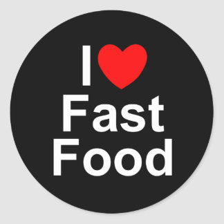 I Love Heart Fast Food Round Stickers