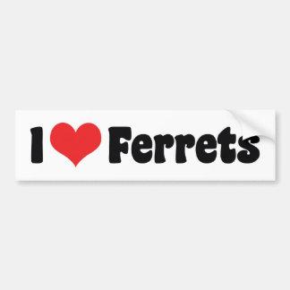 I Love Heart Ferrets - Ferret Lover Bumper Sticker
