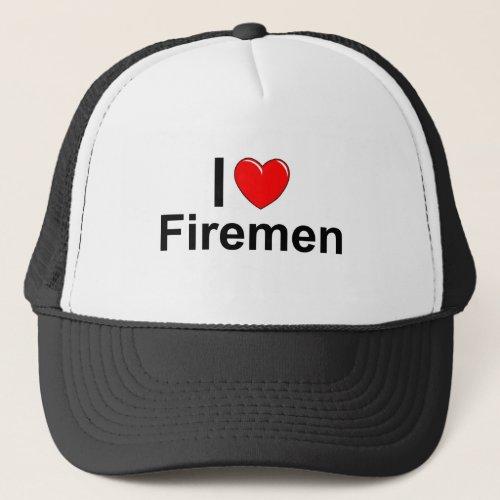 I Love Heart Firemen Trucker Hat