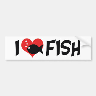 I Love Heart Fish - Aquarium Lovers Bumper Sticker