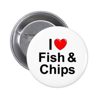 I Love (Heart) Fish &  Chips 2 Inch Round Button