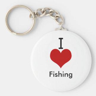 I Love (heart) Fishing Basic Round Button Keychain