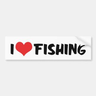 I Love Heart Fishing Bumper Sticker
