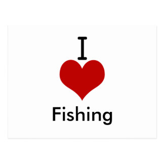 I Love heart Fishing Post Card