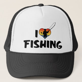 I Love Heart Fishing Trucker Hat