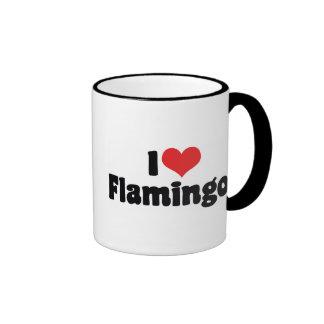 I Love Heart Flamingos - Pink Flamingo Lovers Ringer Mug