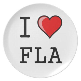 I Love Heart Florida Dinner Plate