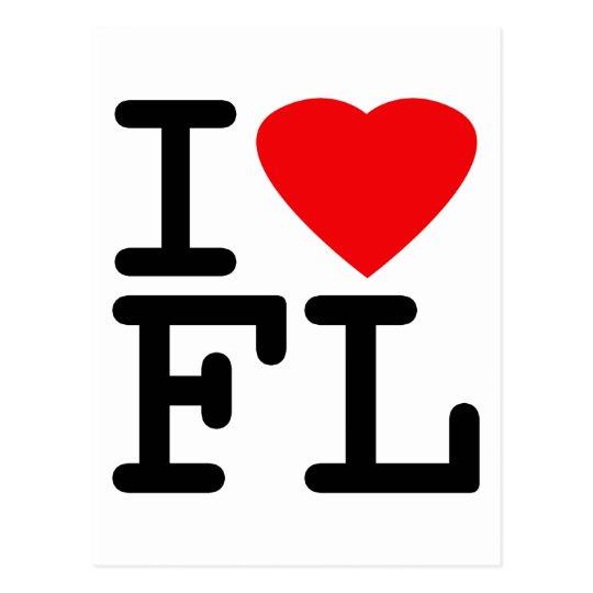 I Love Heart Florida Postcard
