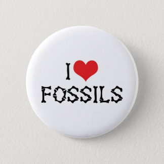 I Love Heart Fossils - Paleontology Fossil Hunter Button
