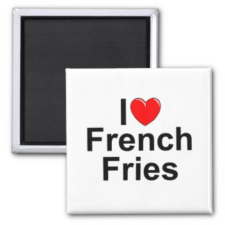 I Love (Heart) French Fries 2 Inch Square Magnet