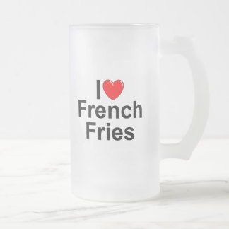 I Love (Heart) French Fries Frosted Glass Beer Mug