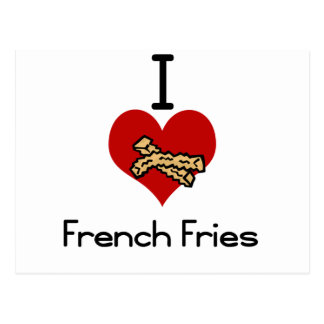 I love-heart french fries postcard