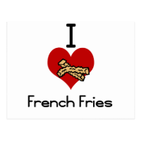 I love-heart french fries postcards